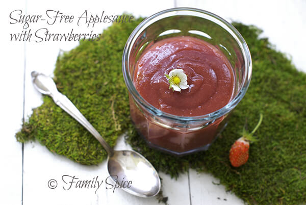 Sugar Free Strawberry Apple Sauce by FamilySpice.com