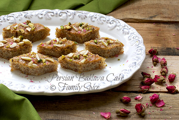 Persian Baklava Cake with Almonds and Rosewater