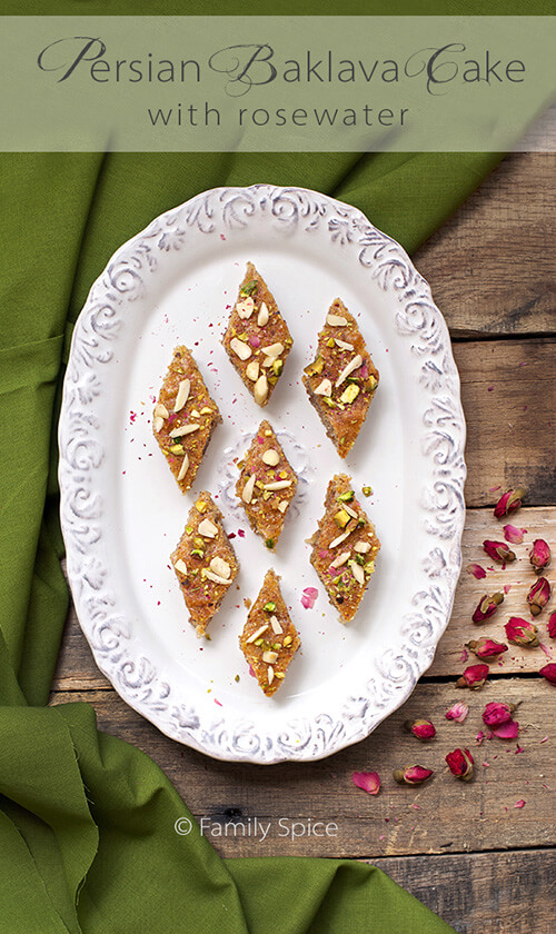 Persian Baklava Cake with Almonds and Rosewater by Familyspice.com