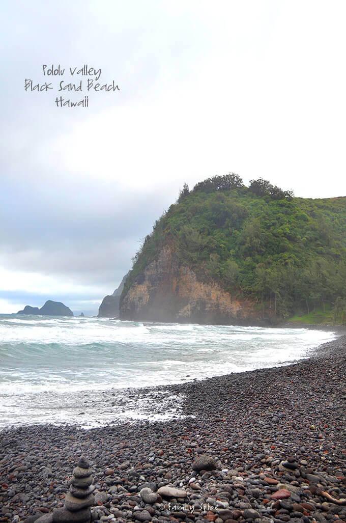 Pololu Valley, Black Sand Beach in Hawaii by FamilySpice.com