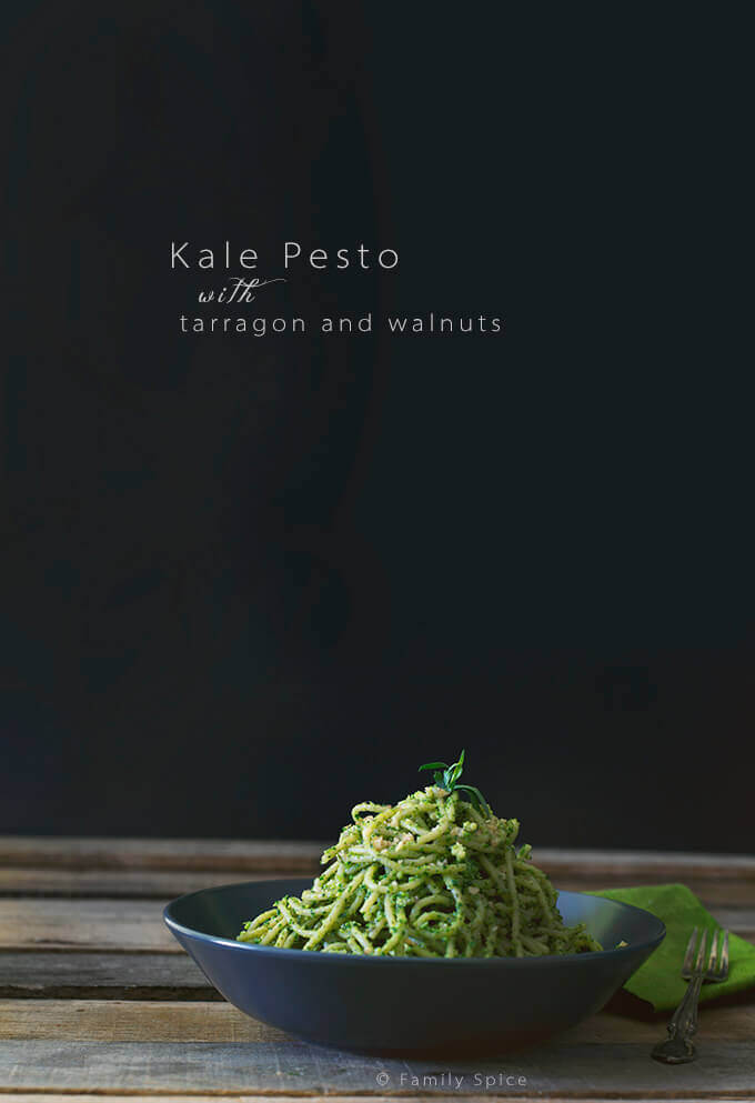 Naturally Green Pasta! Kale Pesto with Tarragon and Walnuts by FamilySpice.com