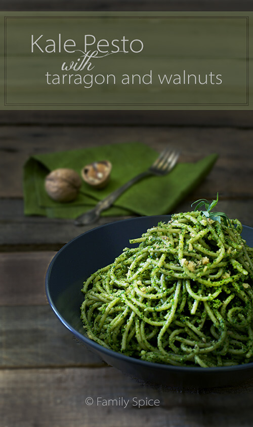 Kale Pesto with Tarragon and Walnuts by FamilySpice.com