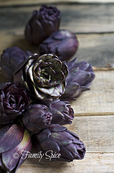 Braised Baby Purple Artichokes with Olive Oil and Wine
