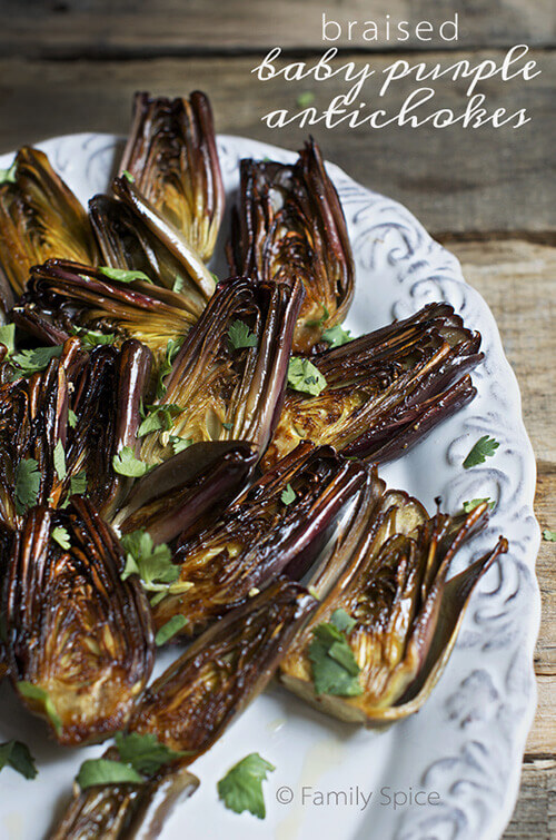 Braised Baby Purple Artichokes with Olive Oil and Wine by FamilySpice.com