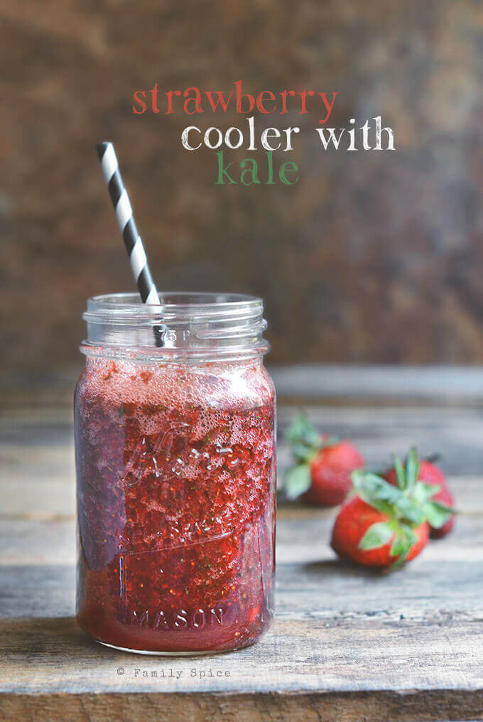 Strawberry Cooler with Kale and Pomegranate by FamilySpice.com
