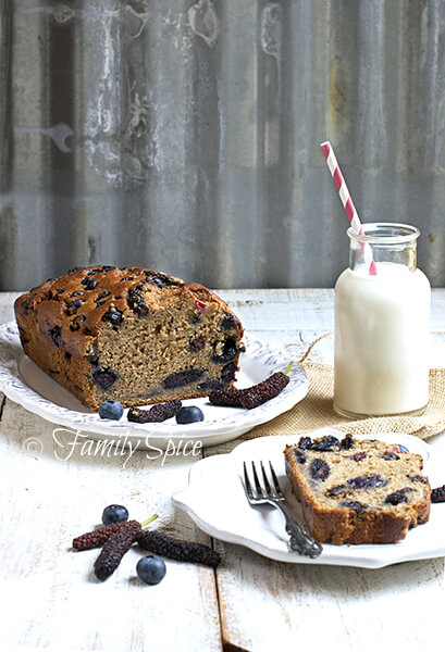 Whole Wheat Banana Bread with Blueberries, Strawberries and Mulberries