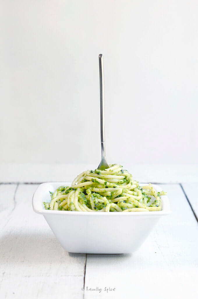 East Meets West: Bok Choy Pesto with Cilantro and Black Sesame Seed by FamilySpice.com