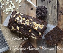 Skinny Whole Wheat Chocolate Almond Banana Bread