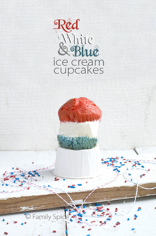 Red, White and Blue Ice Cream Cupcakes by FamilySpice.com
