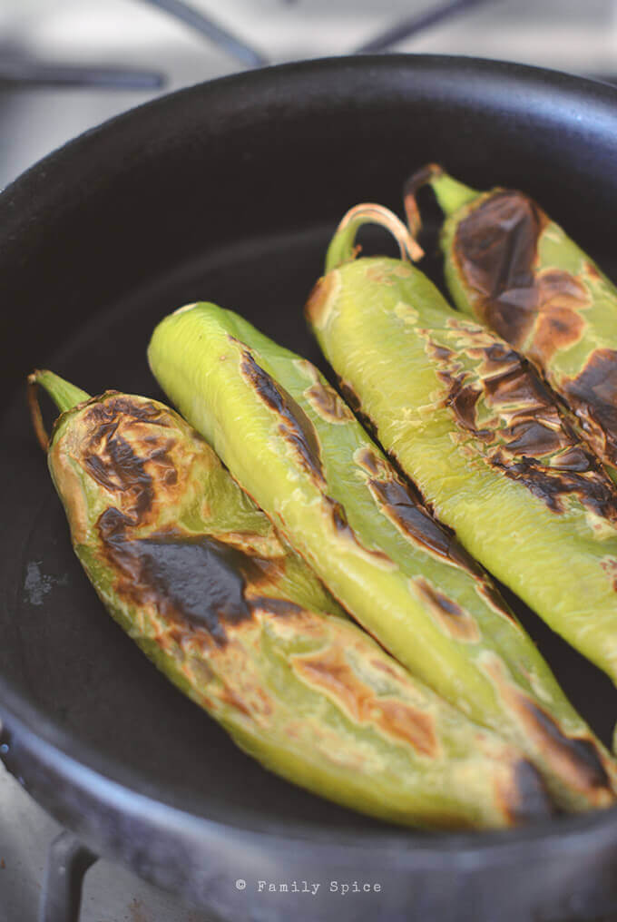 Pan Roasting Hatch Chiles by FamilySpice.com