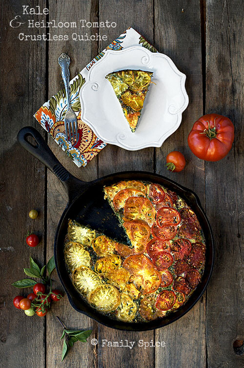 Kale and Heirloom Tomato Crustless Quiche by FamilySpice.com