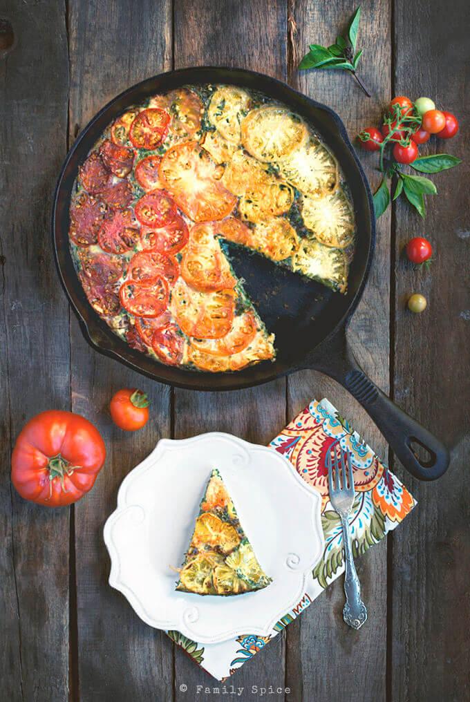 Kale and Heirloom Tomato Crustless Quiche by FamilySpice.com