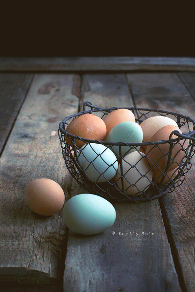 Brown and Blue Chicken Eggs in a Wire Basket by FamilySpice.com