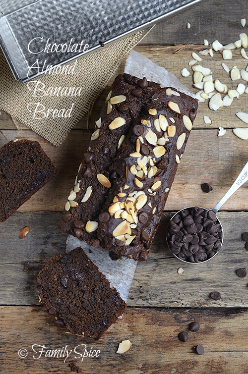 How to Bake with Olive Oil: Chocolate Almond Banana Bread by FamilySpice.com