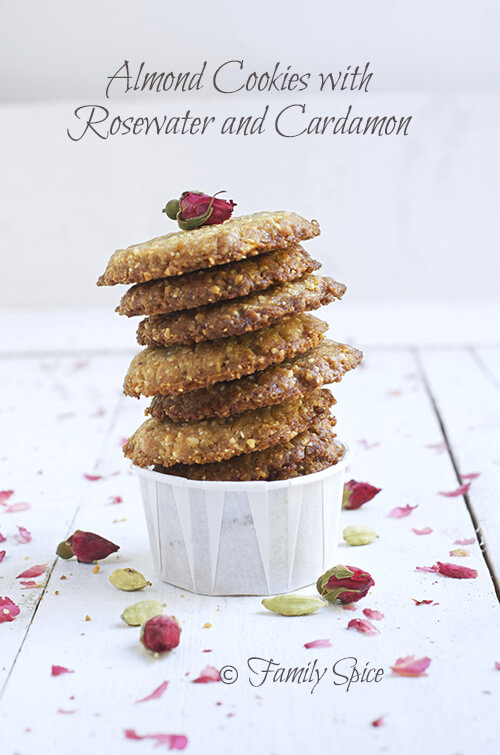 How to Bake with Olive Oil: Almond Cookies with Rosewater and Cardamon by FamilySpice.com