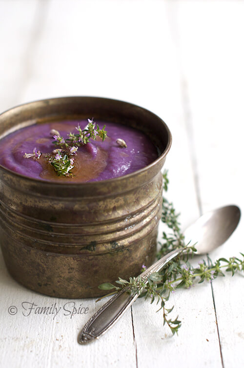Purple Sweet Potato Soup with Cauliflower by FamilySpice.com
