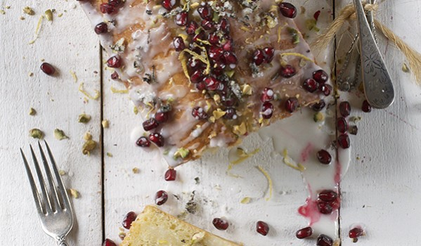 Lemon Cake with Basil and Pomegranate