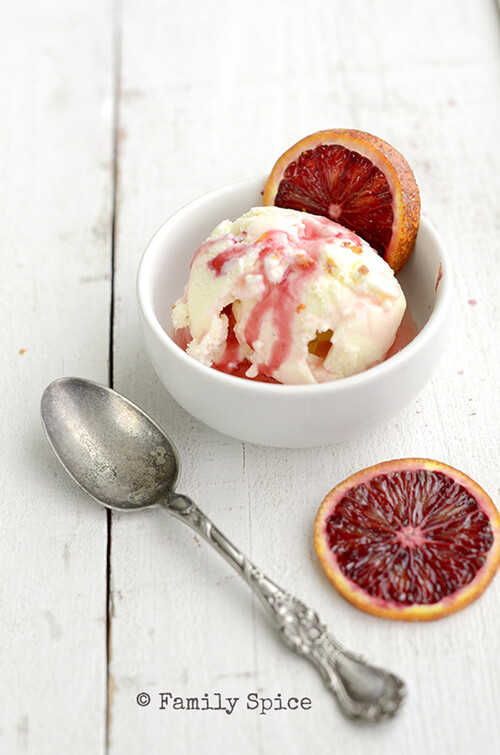 Vanilla Ice Cream with Blood Orange Infused Balsamic Vinegar by FamilySpice.com