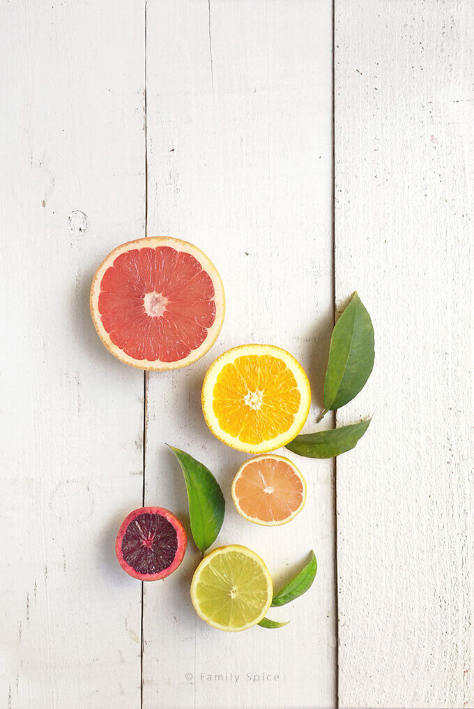 Citrus fruits: grapefruit, orange, pink lemon, lime and blood orange by FamilySpice.com