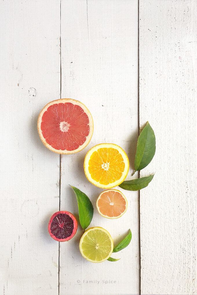 Citrus fruits: grapefruit, orange, pink lemon, lime and blood orange by FamilySpice.com