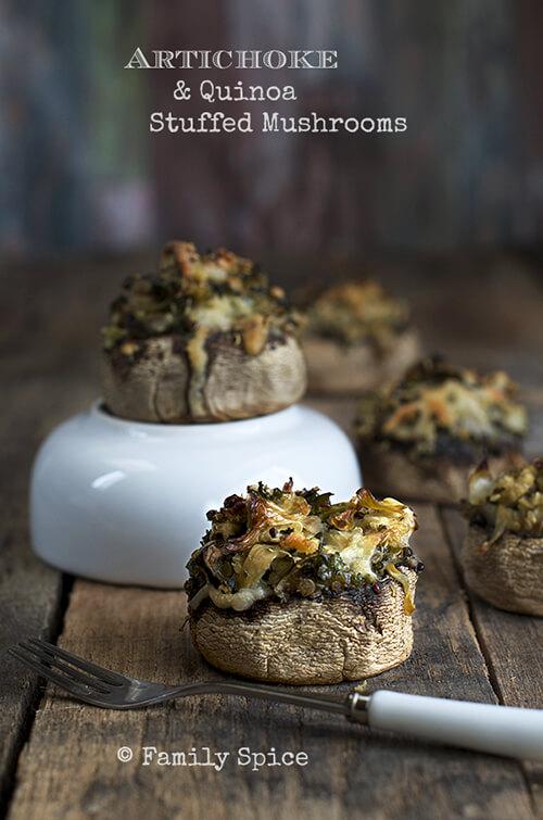 Artichoke and Quinoa Stuffed Mushrooms by FamilySpice.com