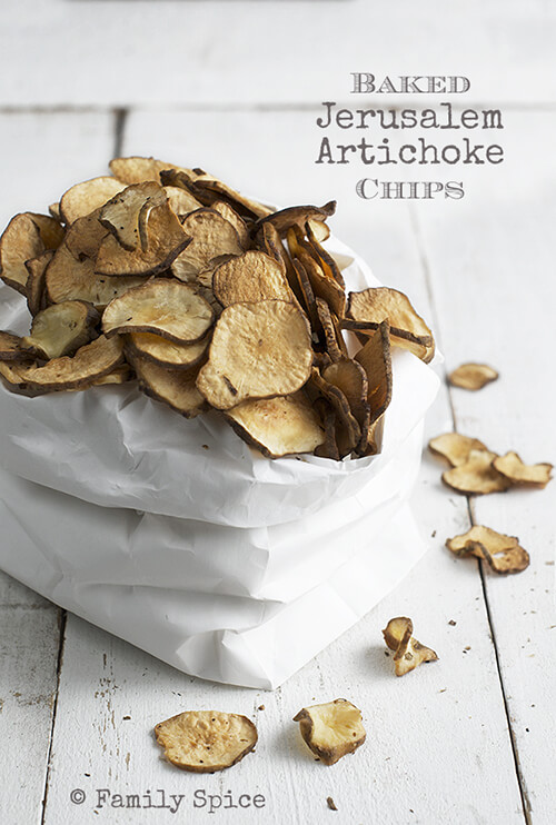 Low Carb Snack: Baked Jerusalem Artichoke Chips by FamilySpice.com
