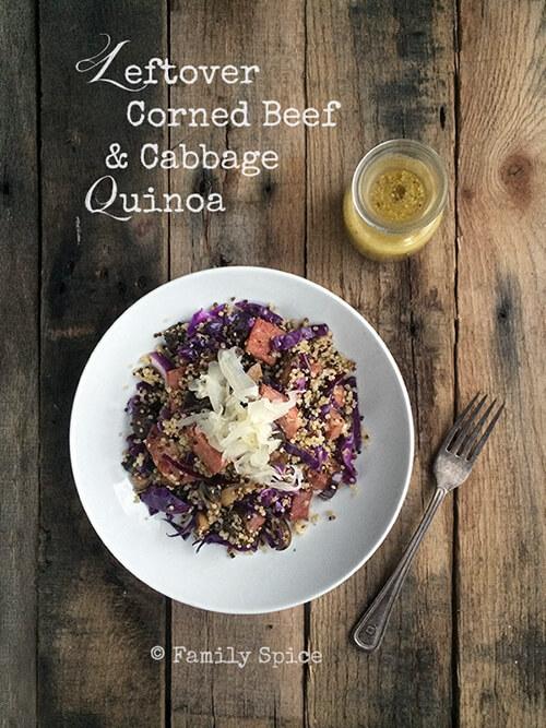 Leftover Corned Beef and Cabbage Quinoa by FamilySpice.com