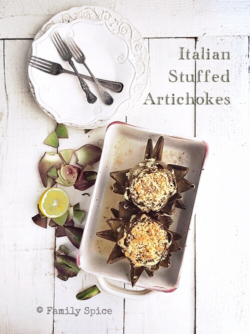 Italian Stuffed Artichokes by FamilySpice.com