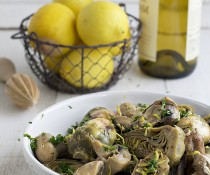 Braised Baby Artichokes and Mushrooms with Garlic and Lemon by FamilySpice.com