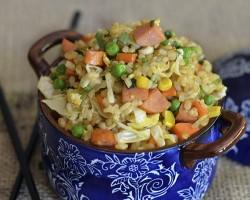 Pork Sausage Fried Brown Rice by FamilySpice.com