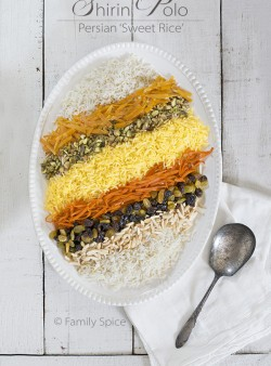 Shirin Polo with Raisins | Persian Sweet Rice by FamilySpice.com