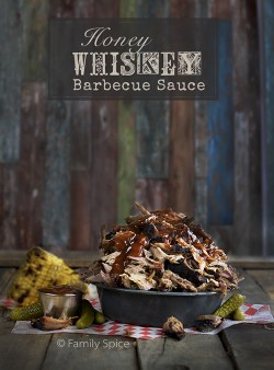 Smoked Pulled Pork with Honey Whiskey Barbecue Sauce by FamilySpice.com
