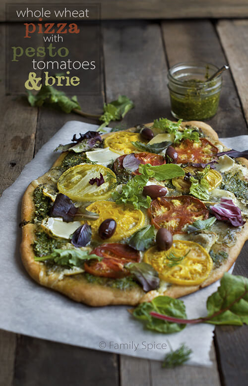 Whole Wheat Pizza with Pesto, Tomatoes and Brie by FamilySpice.com