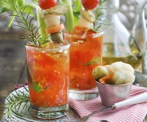 Muddled Cherry Tomato Bloody Mary with Extra Virgin Olive Oil by Family Spice.com