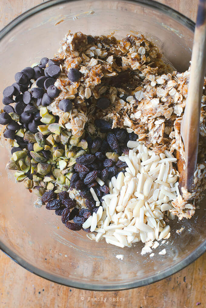 Mixing up Ingredients for Easy, No Bake Oatmeal Date Nut Bars by FamilySpice.com