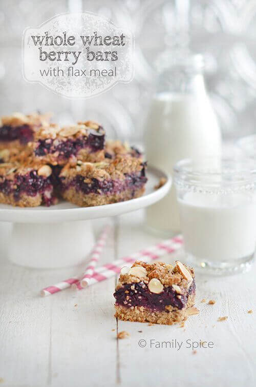 Whole Wheat Berry Bars with Flax Meal by FamilySpice.com