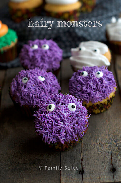 Hairy Monster Halloween Cupcakes by FamilySpice.com