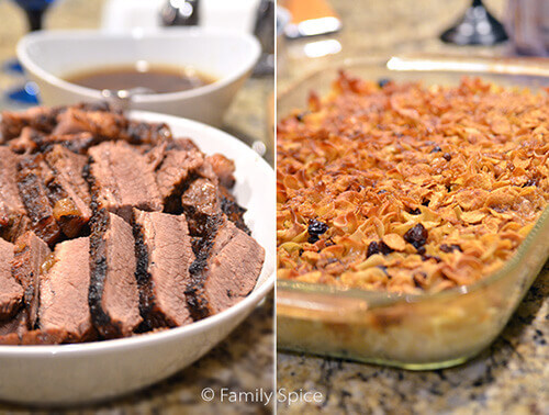 Brisket and Kugel for Hanukkah by FamilySpice.com