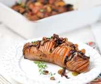 Hasselback Sweet Potatoes with Caramelized Onions, Pecans and Raisins by FamilySpice.com