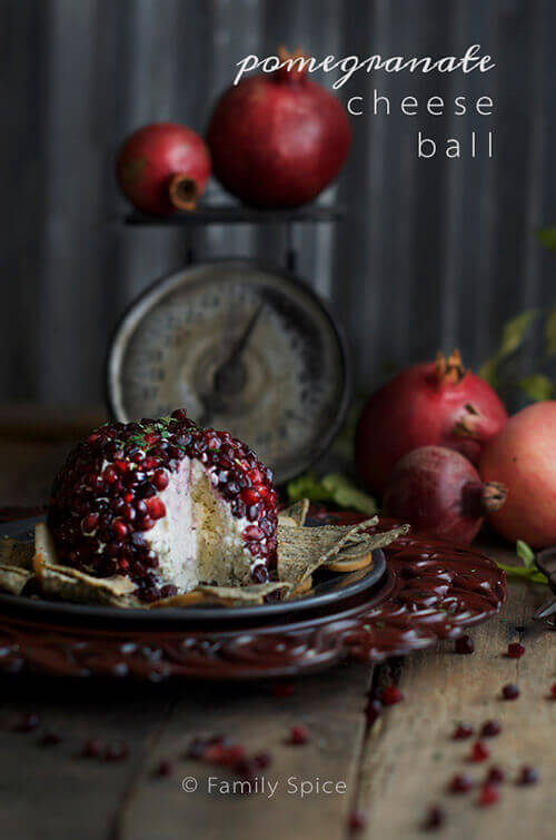 Pomegranate Cheese Ball with Garlic and Herbs by FamilySpice.com
