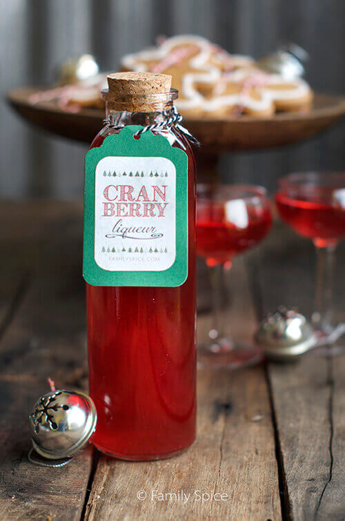 Homemade Holiday Gifts: Cranberry Liqueur with Persian Mint Syrup (Sekanjabin) by FamilySpice.com