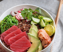 Ahi Poke Bowl with Quinoa by FamilySpice.com
