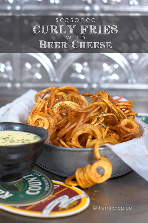 Seasoned Curly Fries with Beer Cheese Dip by FamilySpice.com