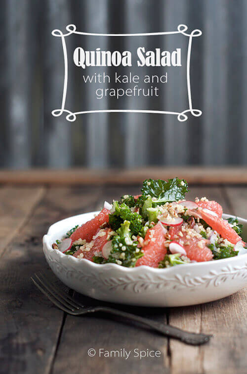 Quinoa Salad with Kale and Grapefruit by FamilySpice.com