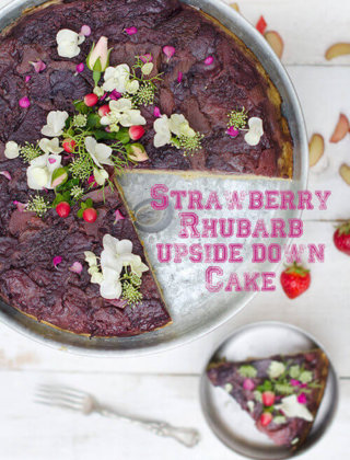 Strawberry Rhubarb Upside Down Cake by FamilySpice.com