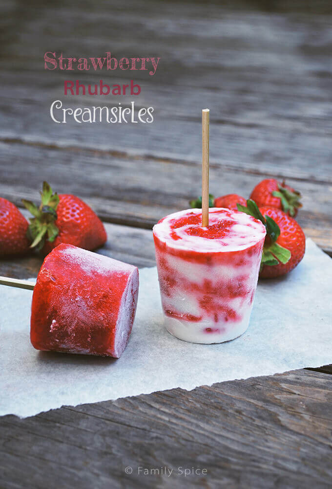 Strawberry Rhubarb Creamsicles by FamilySpice.com