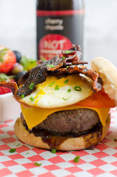 Cherry Chipotle Breakfast Burger from FREE Burger Ebook with 10 Mouthwatering Burger Recipes from NotKetchup.com