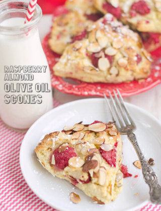 Raspberry Almond Olive Oil Scones