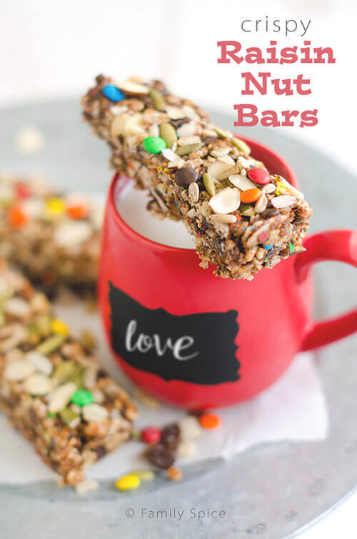 These No-Bake Crispy Raisin Nut Bars are packed with fiber and protein and sweetened with raisins and honey. By FamilySpice.com