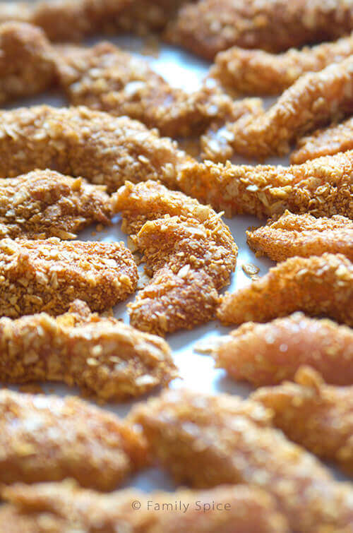 Kids Do Eat Real Food | Tortilla Crusted Chicken Strips by FamilySpice.com